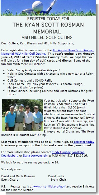 Register Today for the 4th Annual Ryan Scott Rosman Memorial MSU Hillel Golf Outing